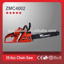 Good quality Single Cylinder 40cc professional cutting ZM4002 power chain saw garden tools