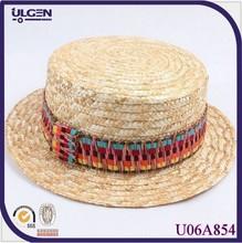 Beach rainbow bow British jazz hat straw hat summer hat lady headwear