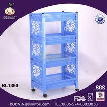 4-tier plastic kitchen rack with wheels