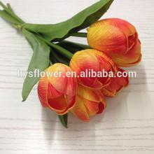 Artificial flower 6 heads pu orange tulips bouquet for decoration,table wedding decoration artificial flowers