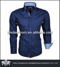 designer shirts, double collar navy blue mens classic shirts