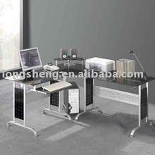 Tempered Glass Metal frame Corner Desk