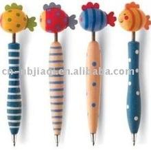 OEM design cartoon pen/pen with cartoon head/wooden pen with animal top