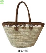 Simple fashionable ladies' cornhusk handbag