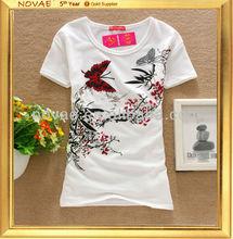 2014 fashion design spandex farbic beautiful tshirt for girls
