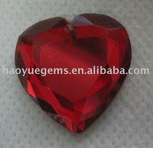 manufacturer & loose wedding heart shape garnet color glass gems