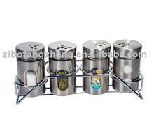 4Pcs stainless steel coated glass cruet set