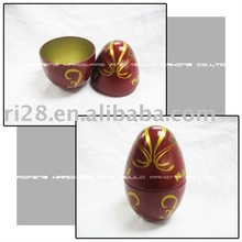 Chocolate tin box of egg-shaped