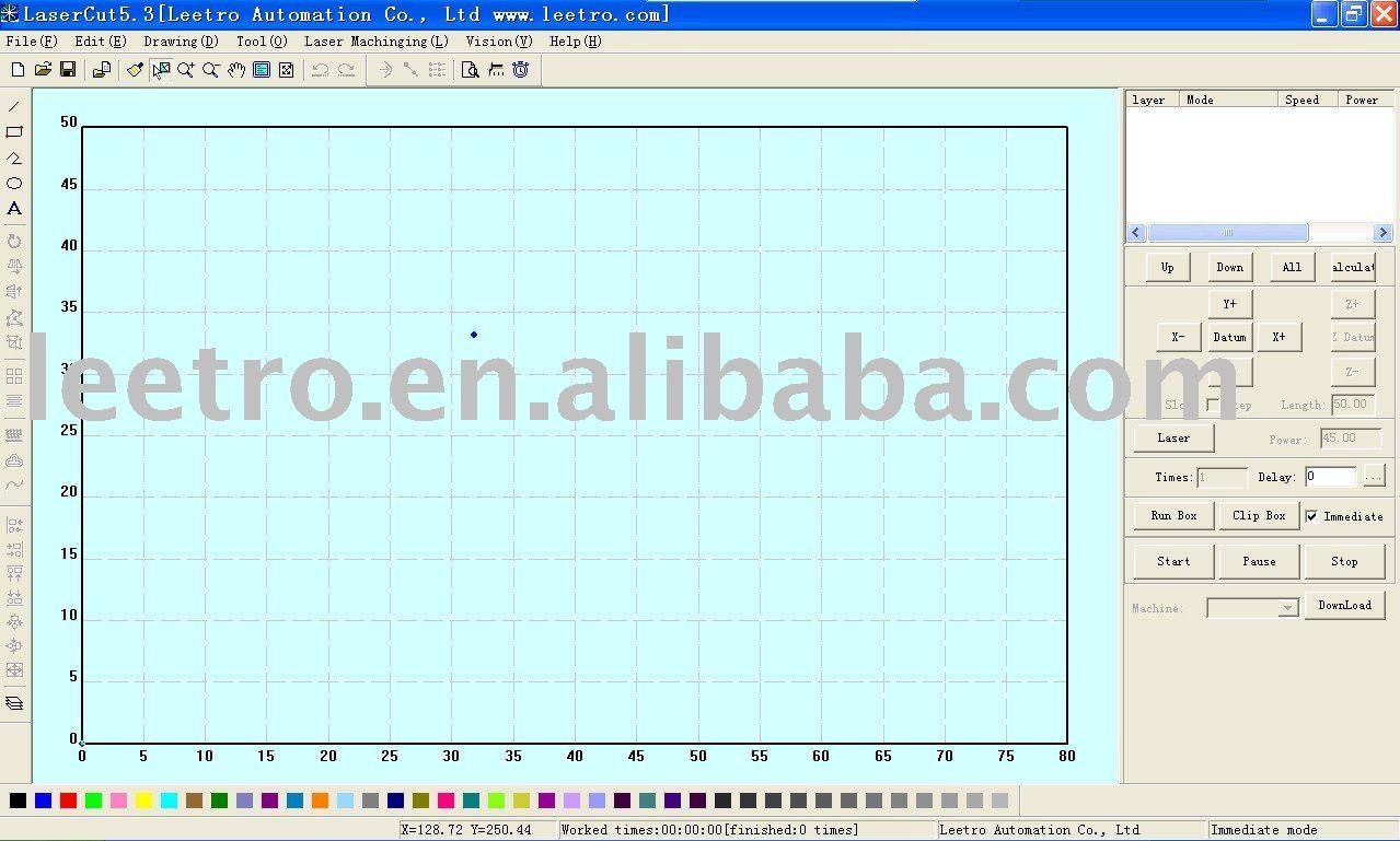 Láser de la aplicación de Control - LaserCut 5.3 funcionamiento del Software