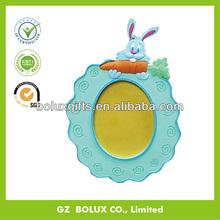 Factory OEM custom color lovely 3d rabbit shape soft PVC rubber photo frame holder