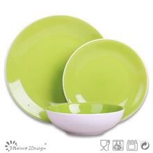 green dinner set ceramic/3 place setting bicolor dinner set