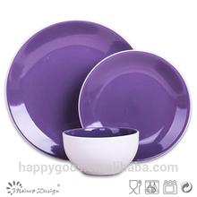 Stoneware Dinnerware with purple color/white and purple dinner set ceramic