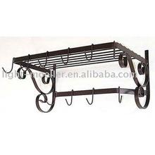 wrought iron kitchen wall pot rack