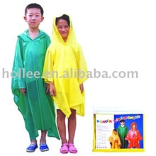 yellow and green pvc children poncho