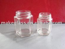 hexagon-shaped glass jar for jam