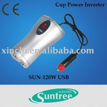 120W Cup shape car Power Inverter with usb