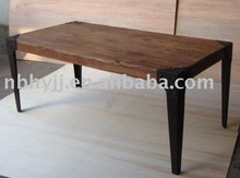 H22008 old elm wood dining table (KD) with iron leg