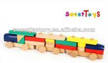 Children building block wooden train toys,DIY wooden train toys set