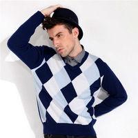 Men's argyle Pure Cashmere v-neck sweater