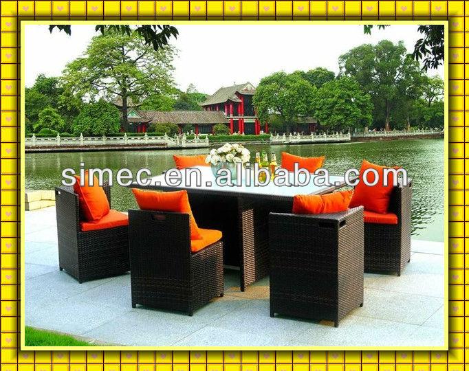 طاولات الطعام والكراسي مطعم حديقة ويكر مجموعات العشاء sctc-- 006
