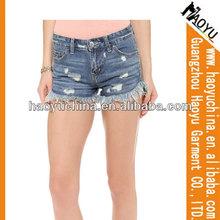 Damas pantalones vaqueros cortos baratos pantalones cortos de jean( hy3323)