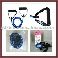 Latex tubing exercise loop band with foam handles