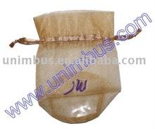 oval bottom drawstring organza bag,sheer gift pouch