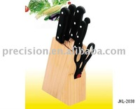 7 pc kitchen knives sets with rubber wood knife block