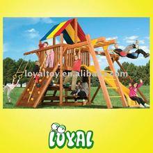Happy wooden outdoor swings and garden furniture