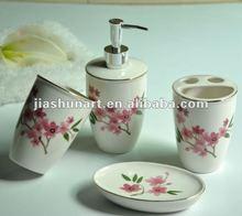 Bath set gift Beautiful Ceramic 4PCS Bathroom Set Ceramic Sanitary
