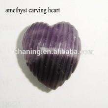 Fashion design natural gemstone amethyst carved heart