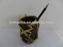 Polyresin deer horn pen holder