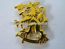 2013 matt gold-bronze antique-copper lion and sword metal badge