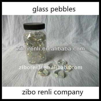 Wedding Fish Tanks Bottled Pretty Heart Shape Polished Clear Glass Pebbles Decor