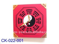 Unique Wooden Table Clock with Taiji Bagua Pattern Design
