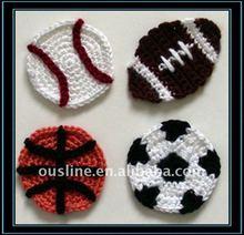 crochet football applique,crochet basketball applique,crochet decoration