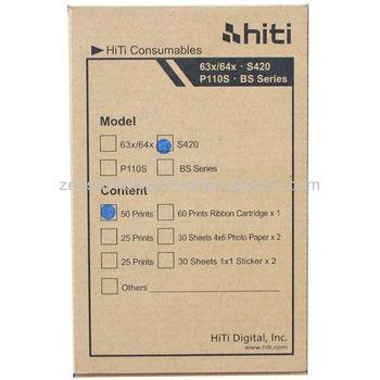 "Print Media for HiTi Model S420 CN Region Printer - 50 Pack 4"" x 6"" Sheets + Ribbon"