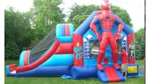 hot sale spider man bouncy and slide combos,cheap inflatable bouncy slide combo