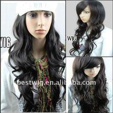 Women's Long Black Human hair lace front wig