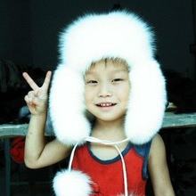 2014 fashion white fox fur Russian style hat with earmuffs for baby
