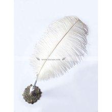 BP-09 Elegant white ostrich feather pen