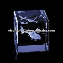 3D laser engraving glass cube business gifts