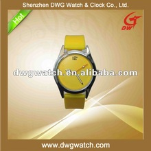 Silicone Watch 2012 Colored Yellow with Japan Mov,t and Factory Price DWG--R0106-1