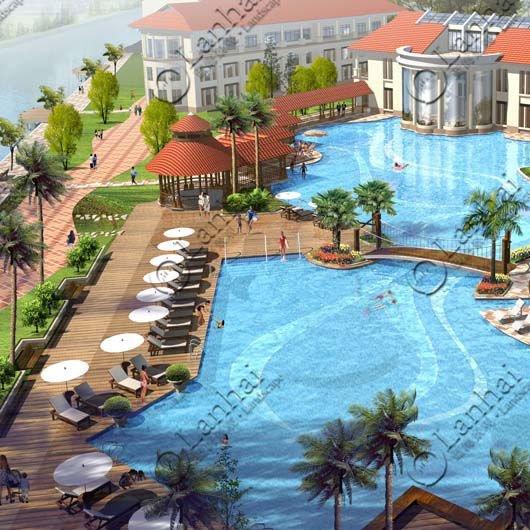 piscina de natación 3d apartamento de dibujo de representación