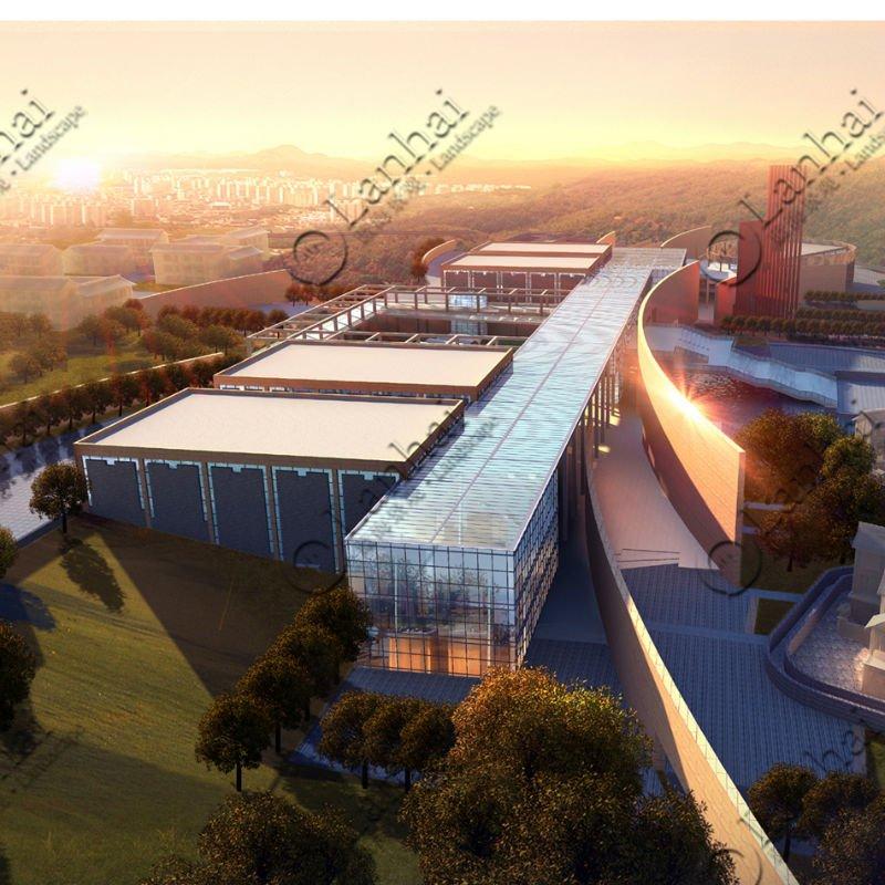 Fachada arquitectura vista aérea , 3d , interpretación de dibujo