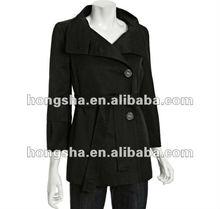 Black Cotton-Poly 3/4 Sleeve Jacket HSC8040
