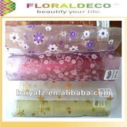 Flower Pattern Printed Organza Fabric