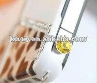 HOT! Diamond Crystal Design 3.5mm Earphone Jack Anti-dust Dustproof Plug Stopper for iPhone 4 3G 3GS KOA005