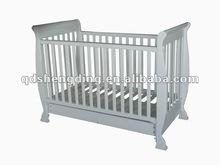 White Sleigh style cot with mattress