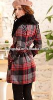 Japan Korea Top Fashion Stylish Woman Red Plaid Check Faux Fur Collar Coat HGS031